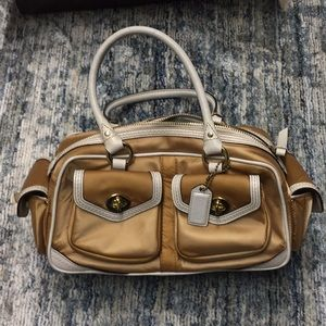 Gold Satin Coach Satchel w/ White Leather Accents